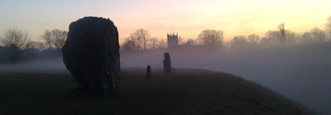 The Lodge, Avebury - Mist rolls in across the henge at sunset.